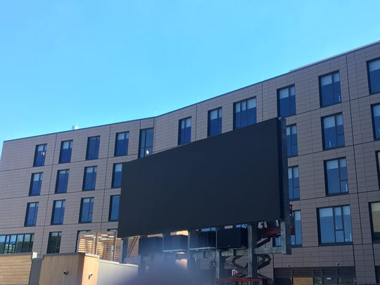 New Rutgers Student Apartments with a Jumbo-tron are opening on College Avenue and Hamilton Street on Sunday.
