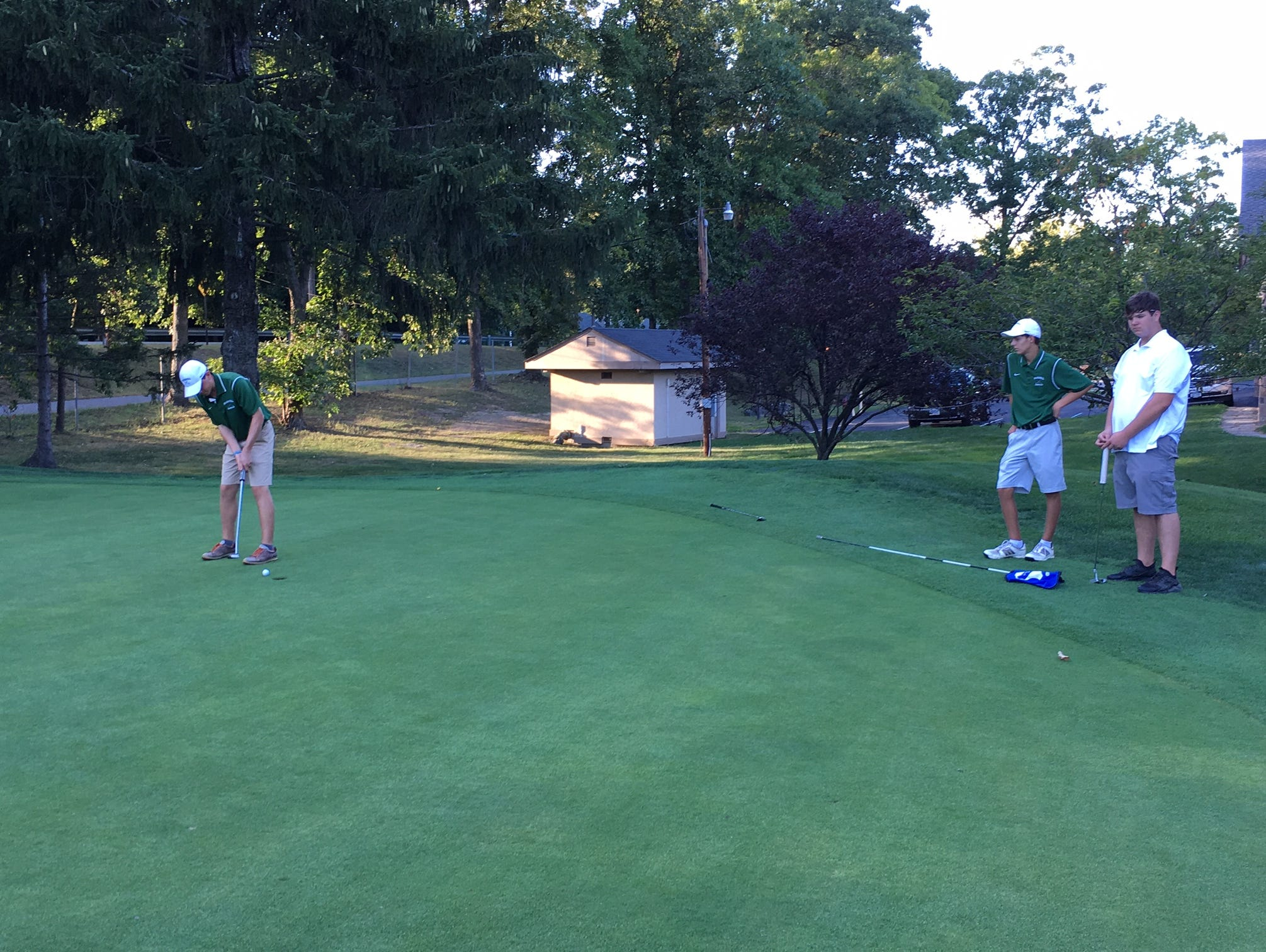 Erik Stauderman's par putt on the ninth hole at McCann Memorial Golf Course completed his best nine-hole score of his career as Spackenkill defeated Dover.