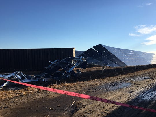 An EF 1 tornado caused heavy damage to the solar array