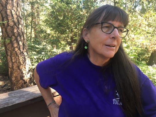 Mary Kwart of Ashland, Ore., shown here at the American Long Distance Hiking Association West gathering in Nevada City, Calif., is one of the few people to through-hike the 360-mile Bigfoot Trail. Kwart gave a presentation about the trail at the gathering.