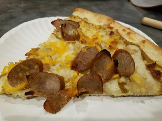 The Octoberfest specialty pizza at Slice Works is topped