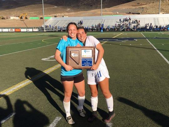 Cousins Chloe Keenan-Merlo (junior keeper, left) and Gabriela Merlo (starting freshman, right) plays for the Reno girls soccer team