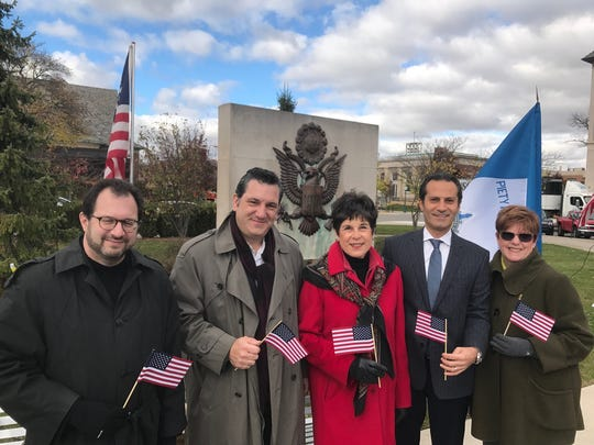 Birmingham City Commissioners Stuart Sherman, Mark Nickita, Rackeline Hoff, Pierre Bourtros and Patty Boardman at the Veterans Day ceremony.