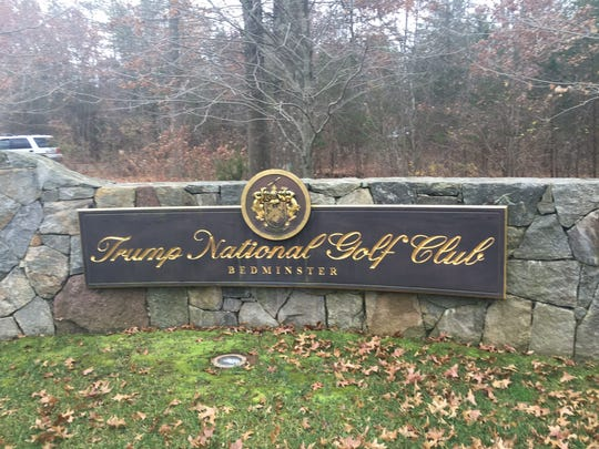 Entrance sign to Trump National Golf Club in Bedminster.