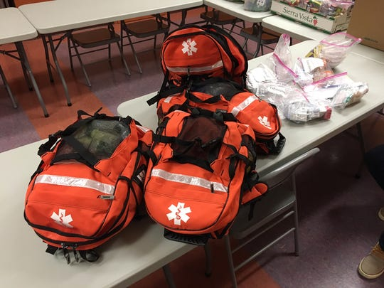 """Four backpacks loaded with different medical supplies are ready to taken by the """"Street Medicine"""" team to give free health care to homeless people in the East Valley."""