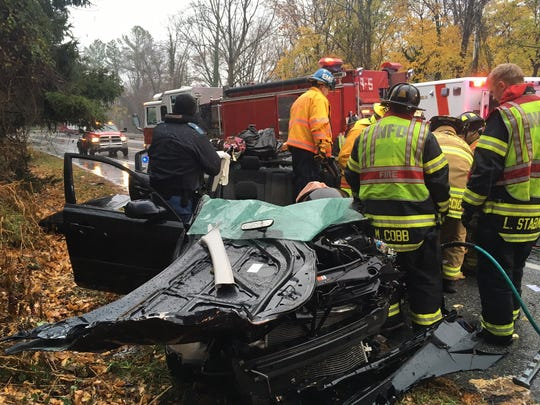 A 29-year-old woman is in critical condition following a crash on Paper Mill Road.