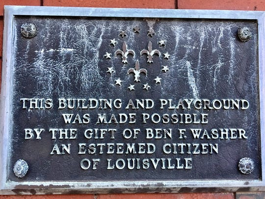 A plaque on the building in Ben Washer Park, 519 W. Kentucky St., honors the late attorney who donated the property in about 1951.