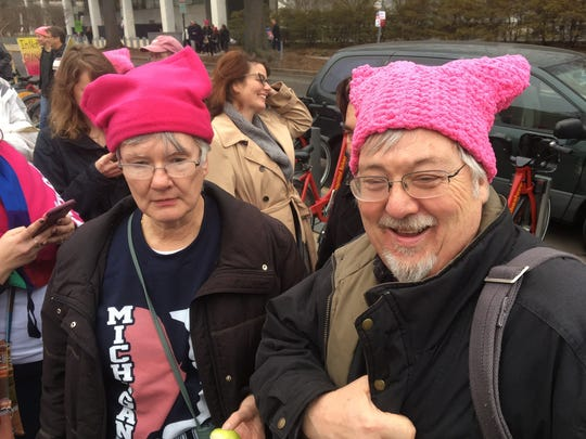 Luann and David Keizer of Spring Lake proudly wore pink pussyhats.