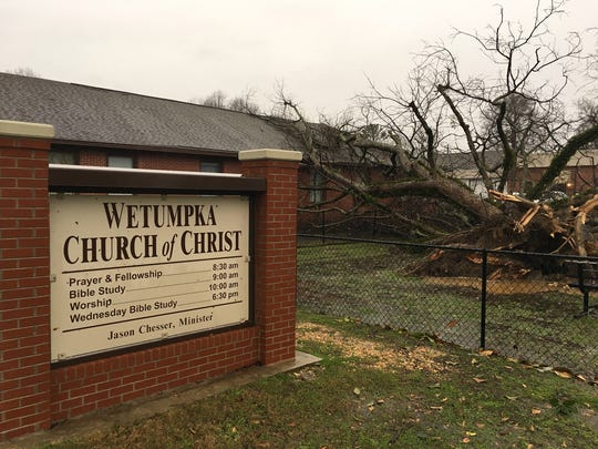 A large tree fell on Wetumpka Church of Christ Saturday, Jan. 21, 2017.