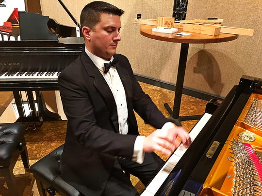 Pianos on display Tom Novara played for guests at the
