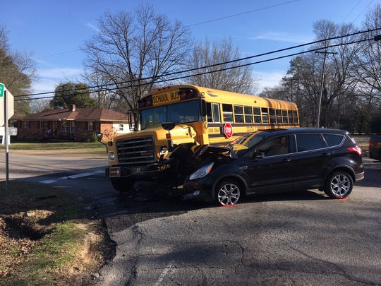 An Anderson School District 5 bus and SUV collided Monday afternoon at Keys Street and East Roosevelt Drive. No serious injuries were reported.