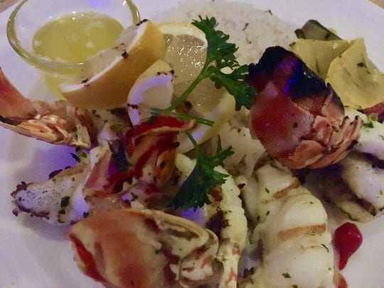 Lobster and roasted vegetables at Fire and Ice at the