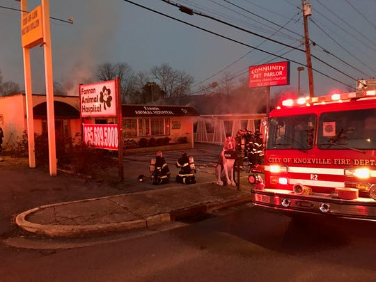 Members of the Knoxville Fire Department responded to a burning building call at the Fannon Animal Hospital at 5009 Clinton Highway at 6 a.m. on Saturday.
