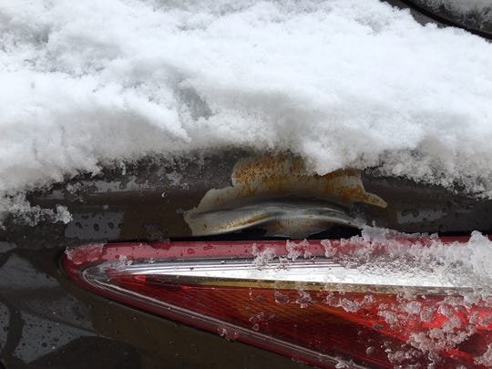 Damage to James Bernard's vehicle caused by a Feb. 27 shooting in his neighborhood.