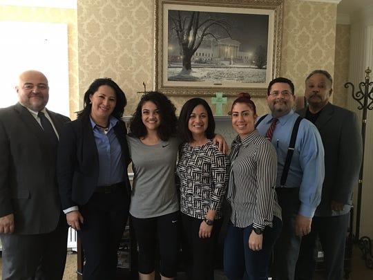 Carlos Sanchez, LEAF board member, Luz Sanchez, LEAF secretary, Laurie Hernandez, Wanda Hernandez, Leezenia Rodriguez, LEAF chairperson, attorney Kenneth Gonzalez and Hector Bonilla, both LEAF board members.