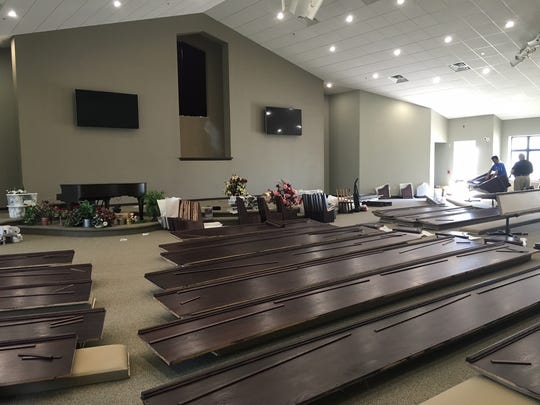 Church pews are constructed in the sanctuary of Three Angels Seventh-day Adventist church at 5820  Southwest Parkway. Church members will celebrate the grand opening of the new building at 10:45 a.m. April 8. The facility will offer its members increased space for worship, events, evangelism and outreach.