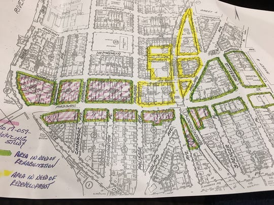 The portions in yellow are being studied in Garfield as a redevelopment area.