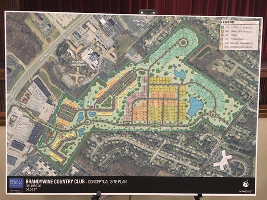 The preliminary plan for the redevelopment of Brandywine Country Club calls for 500-plus new residences.