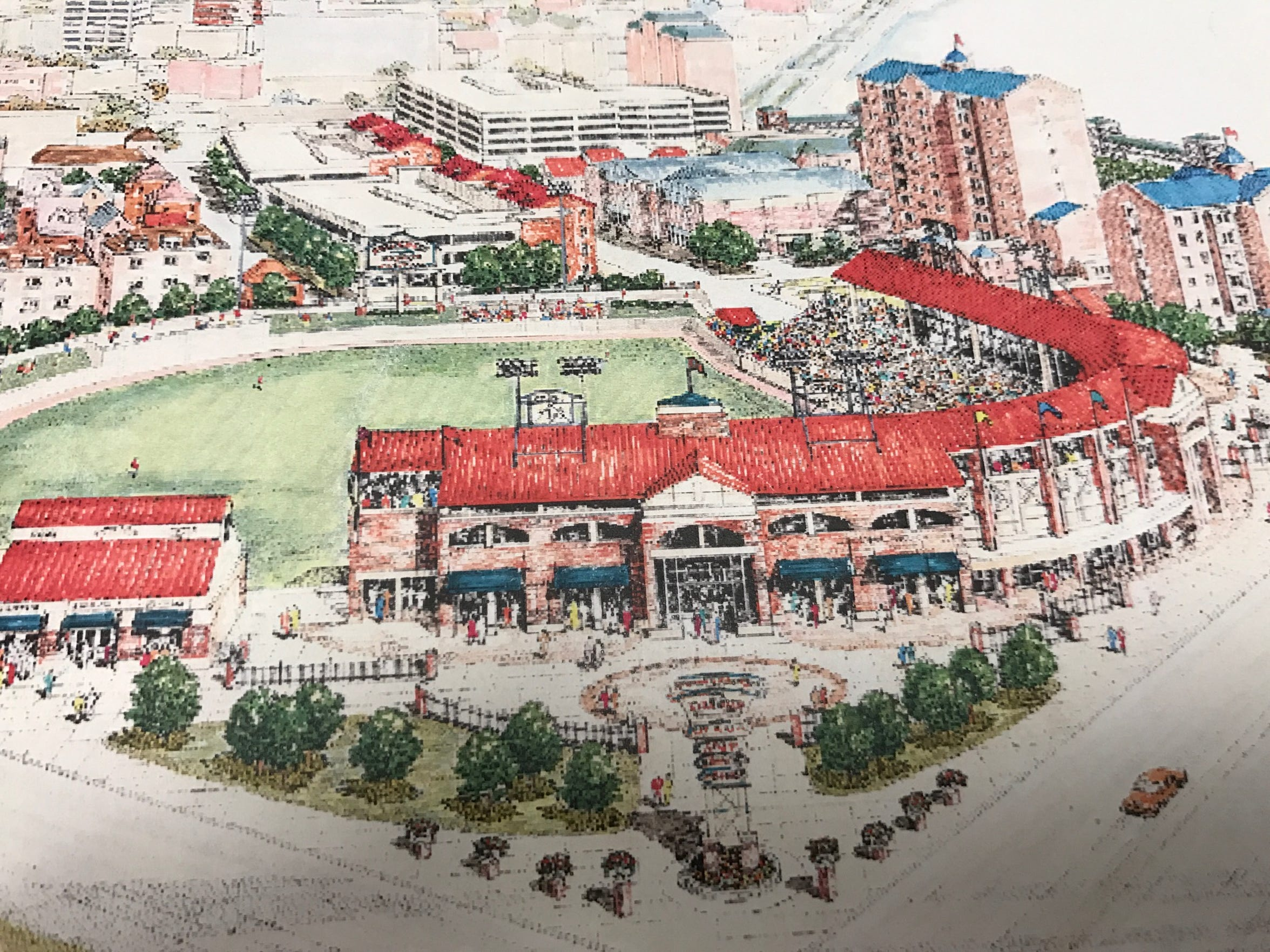 An artist's rendering of the proposed Downtown baseball