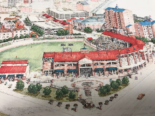 An artist's rendering of the proposed Downtown baseball stadium. The project never came to fruition, splitting public opinion and ultimately ending the tenure of Mayor Russ Lloyd Jr.