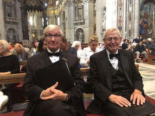 """""""We're really here!"""" marvel Myron Marlett and Frank Lester, bass singers with Voices of Naples."""