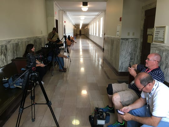 Photographers were not permitted in the courtroom of Judge Leslie Ghiz Thursday for a pretrial hearing of the retrial of former University of Cincinnati police officer Ray Tensing.