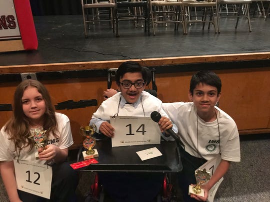 Left to right: 2nd place, John Breitwieser, Colonia Middle School; 1st place, Sparsh Shah, Iselin Middle School; 3rd place, Roshan Pathak, Iselin Middle School