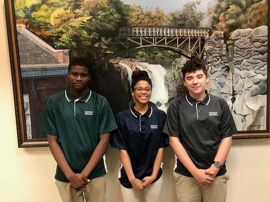 Paterson Youth Council members, from left, T'Ziah Weaver, Mikayla Carter and Miguel Ruiz, who took part in the water testing and presented their findings to the Passaic Valley Water Commission.
