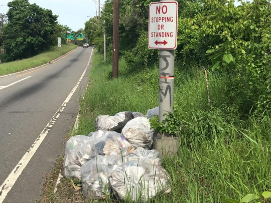 Bags of trash piled up on Route 20 in Paterson.