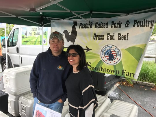 Deputy Mayor Jodi Rosenberg visits with Matt Soldano of Southtown Farms,  the newest addition to the Millburn Farmers Market.