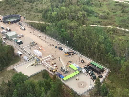 An aerial view shows the staging area near the Straits