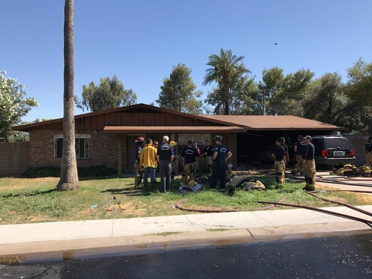 An injured man escaped from a house fire on the 5000 block of Cherry Lynn Road in Phoenix on Tuesday afternoon.