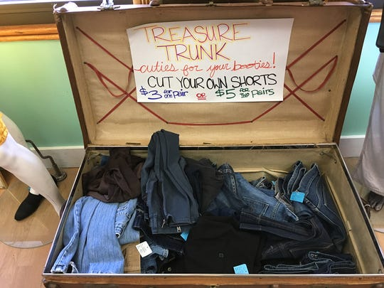 "A ""cut your own shorts"" bin seen last summer at Downtown Threads gives customers a chance to be creative. Battery Street Jeans has had a similar setup."