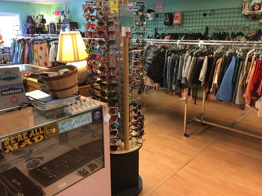 Inside Downtown Threads, a consignment shop on Church Street.