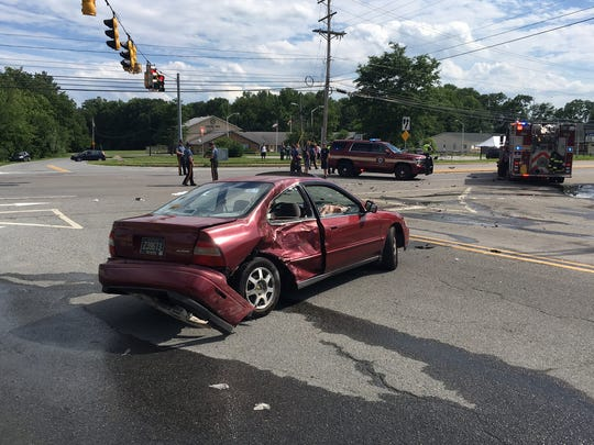 A crash between a motorcycle and a car is investigated Saturday at Old Baltimore Pike and Albe Drive, near Bear.
