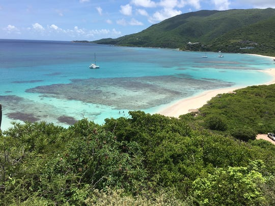 The view of Savannah Bay from a bluff in Virgin Gorda.
