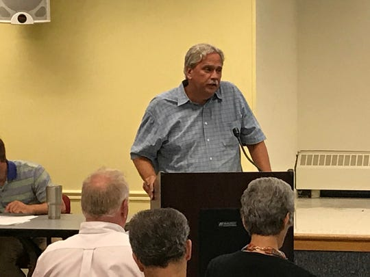 Jeff Tittel of the New Jersey Chapter of the Sierra Club addresses deficiencies he perceived in the state Department of Environmental Protection's draft of a new water supply plan during a public hearing on July 12 in the Milllburn Free Public Library.