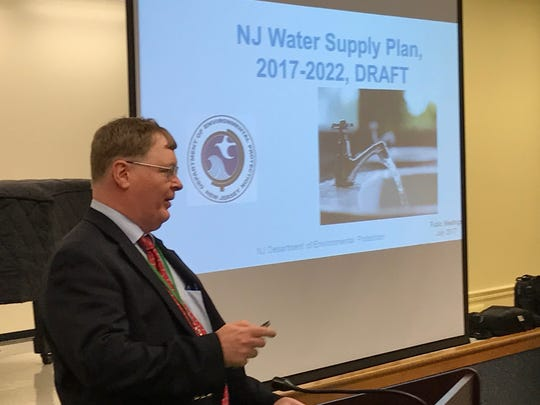Geologist Jeffrey Hoffman presents an overview of the state Department of Environmental Protection's water supply plan at the Millburn Free Public Library July 12.