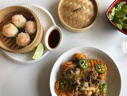 Shrimp shumai and bulgogi nachos at GoSu, an Asian