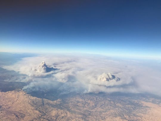 The Detwiler Fire seen from above the clouds of smoke.