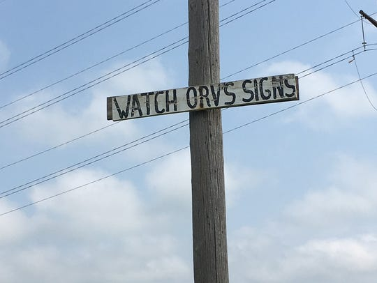 One in the sequence of signs that Orv Caspers wrote