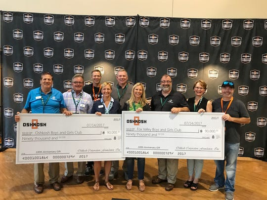 Boys & Girls Club of Oshkosh and Boys & Girls Club of the Fox Valley each received $90,000 from Oshkosh Corp. Foundation as part of the company's 100th Anniversary Celebration.