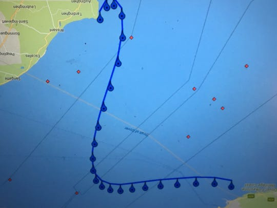 The track, every 30 minutes, of Heather Roka's finish of the English Channel.