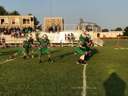 The Almond-Bancroft offense runs through plays in preparation for its matchup with defending Central Wisconsin Conference-Small champion Wild Rose on Friday night.