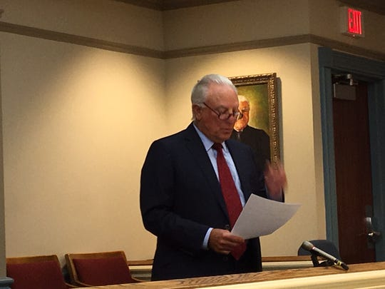 Attorney William Laufer at his ethics hearing in Newton on Sept. 8, 2017.
