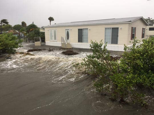 Flooding at River Palms Mobile Home Park on Banana River Drive on Merritt Island.