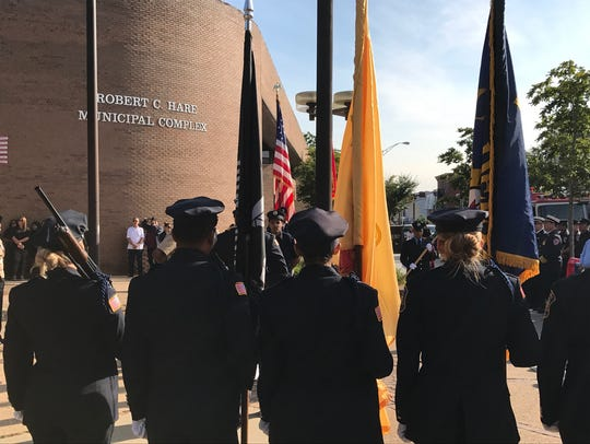 A Passaic police Honor Guard at the 9/11 ceremony on