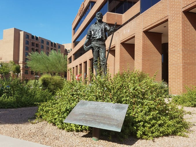 A memorial for Scottsdale founder Winfield Scott at