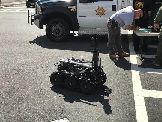 A bomb squad robot.
