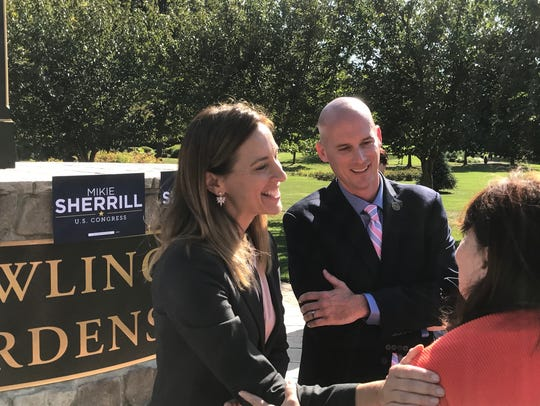 Mikie Sherrill ( L ) and Woodland Park mayor Keith